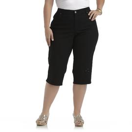 Basic Editions Women's Plus Embellished Twill Capris at Kmart.com