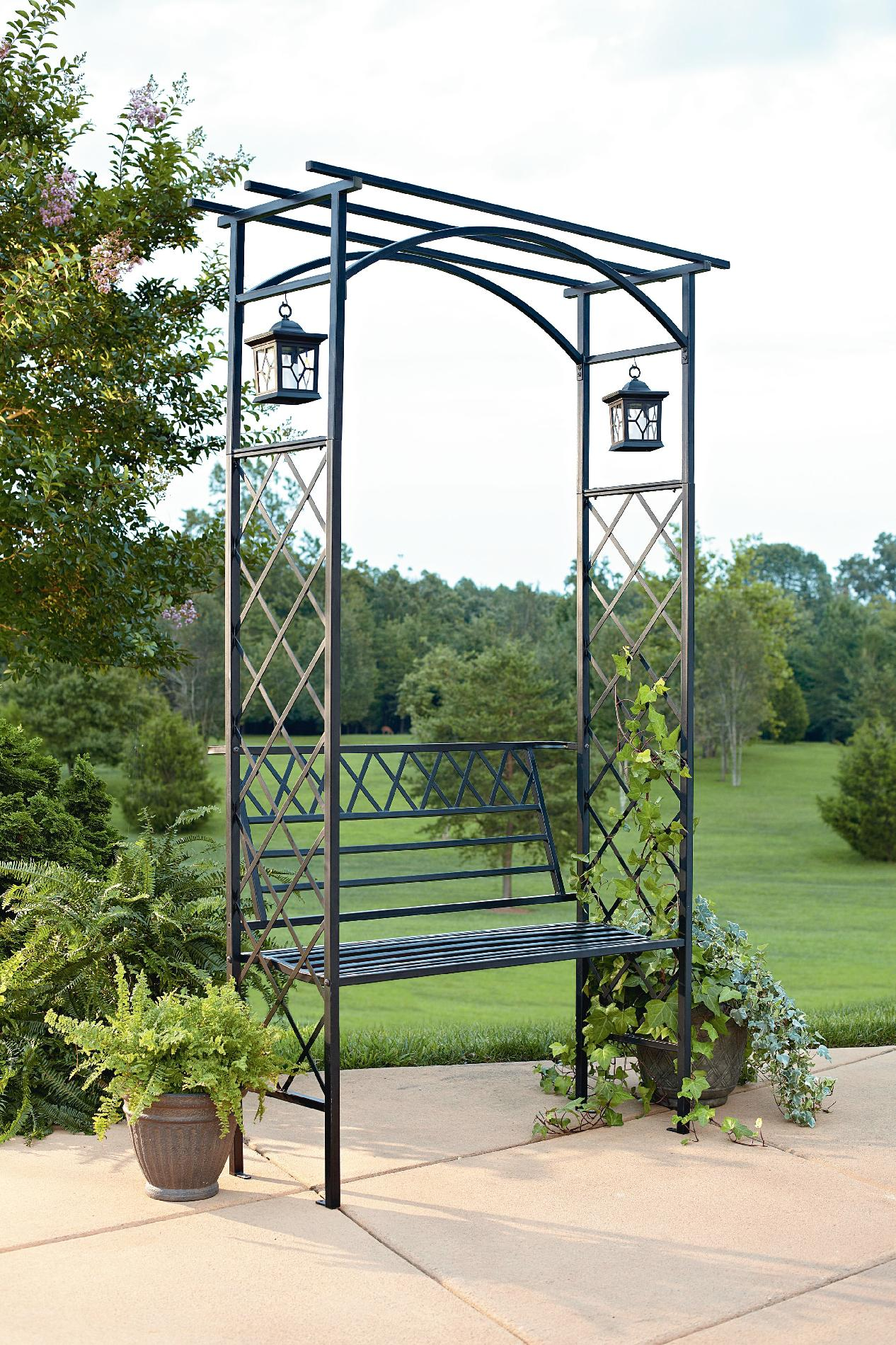Garden Oasis Lattice Arbor With Bench And Two Lanterns