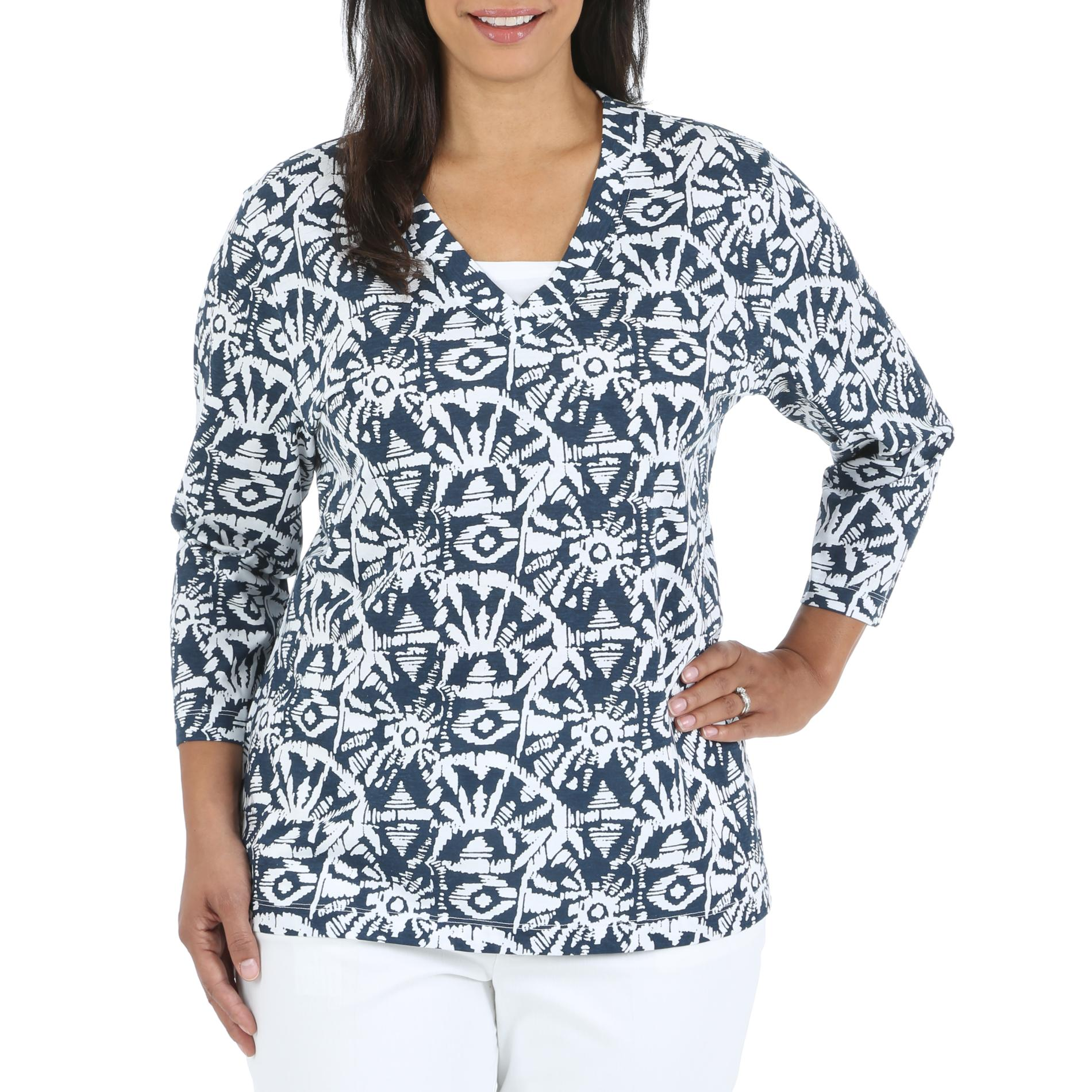 Riders by Lee Women's Plus Thea Knit V-Neck Top - Abstract at Kmart.com