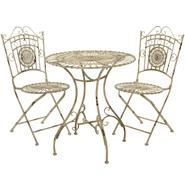 Oriental Furniture Rustic Metal Garden Table Set - Distressed White at Kmart.com