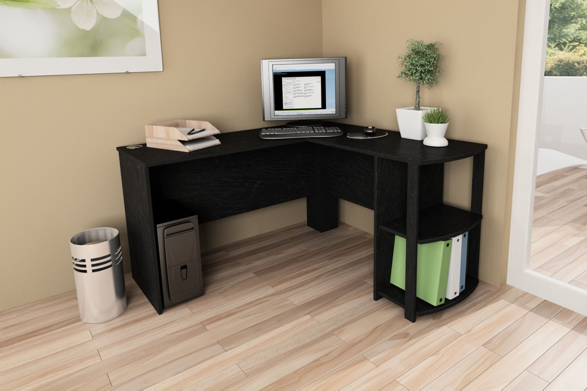 Dorel Home Furnishings L-Shaped Desk with 2 Shelves Multiple Colors