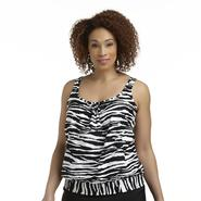 Tropical Escape Women's Plus Shirred Neck Tankini Swim Top - Zebra Print at Sears.com