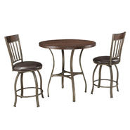 Oxford Creek Pontiac 3 Piece Mixed Media Swivel Counter Height Pub Set at Kmart.com