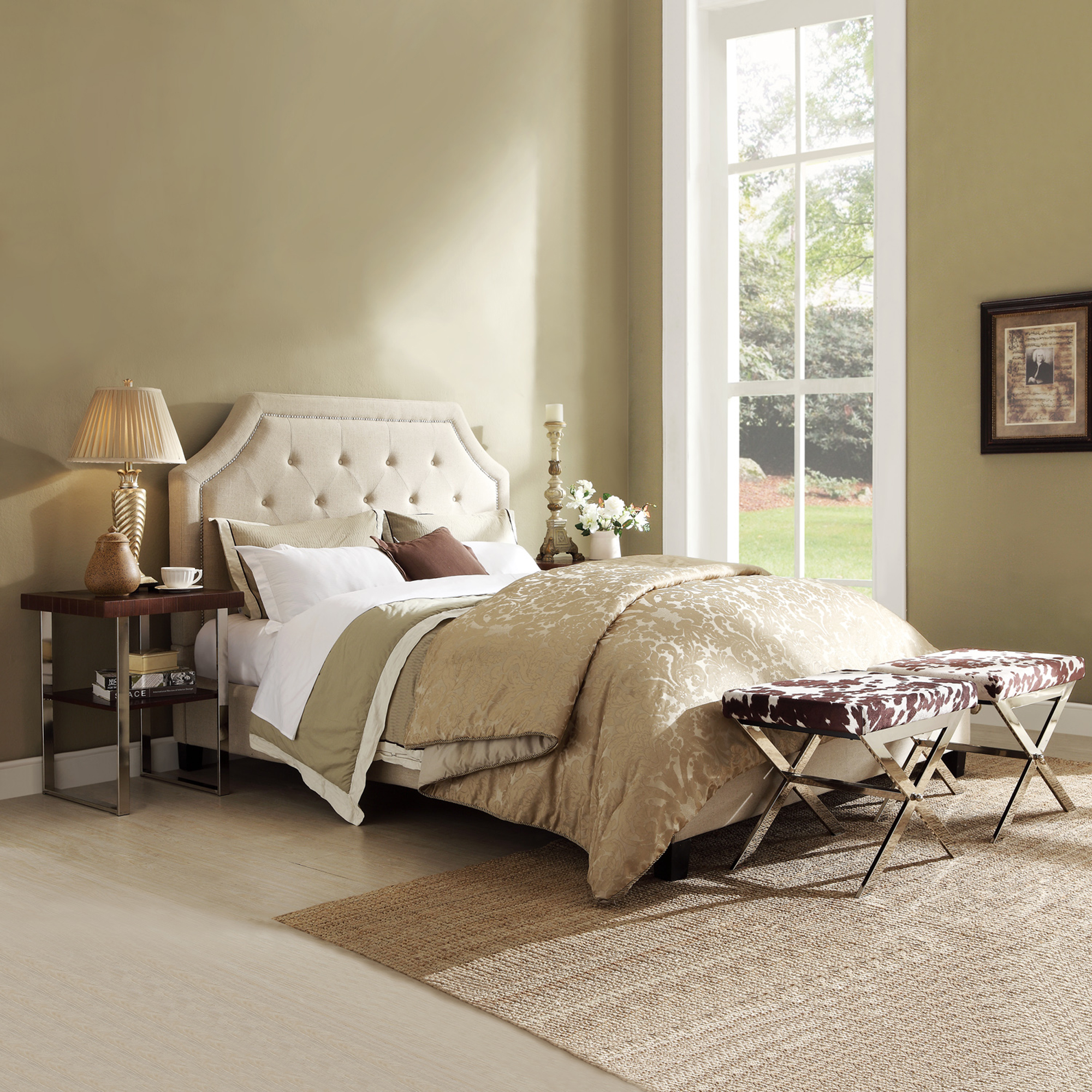 Valencino Button Tufted Arch Full in Sand Linen