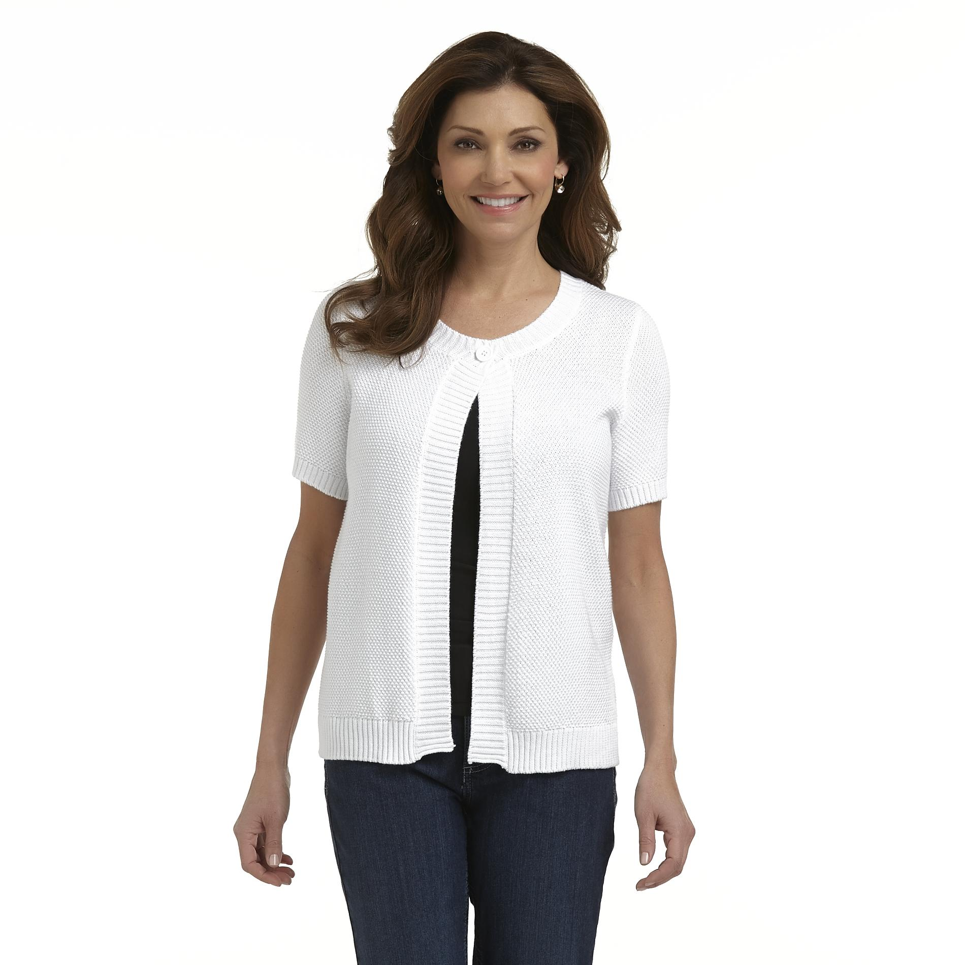 Basic Editions Women's Short-Sleeve Button Cardigan at Kmart.com