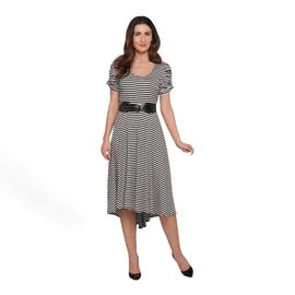 Amanda Lane Women's Ruched-Sleeve Dress & Belt - Striped at Sears.com