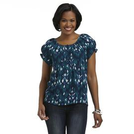 Laura Scott Women's Crinkle Peasant Top - Geometric at Sears.com