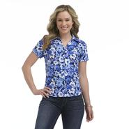 Erika Petite's Short-Sleeve Button-Down Top - Floral Print at Sears.com