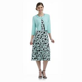 Danny & Nicole Women's Cardigan & Dress - Scroll Print at Sears.com