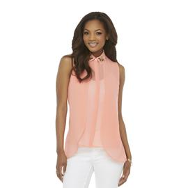 Kardashian Kollection Women's Sleeveless Chiffon Top - Beaded Collar at Sears.com