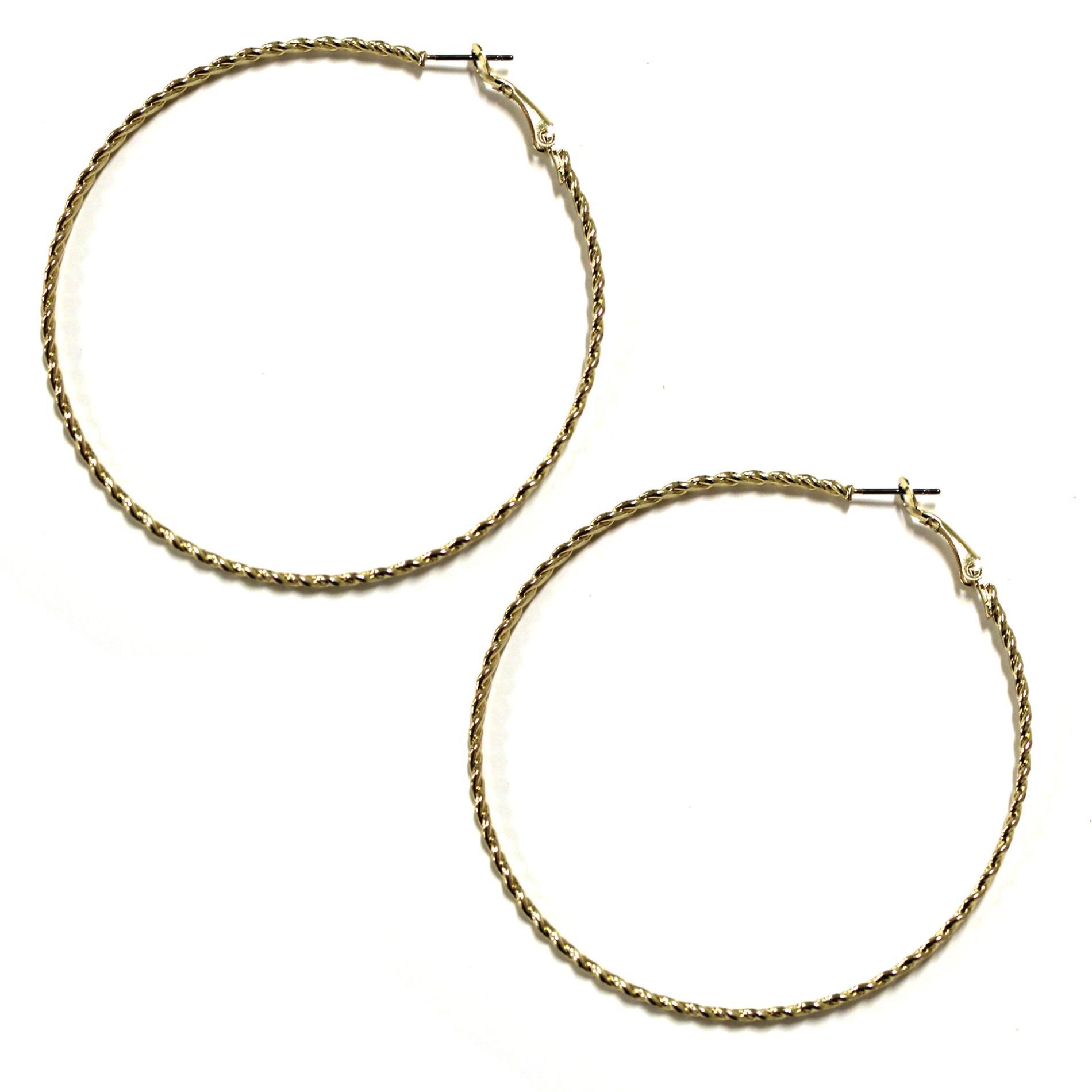 Women's Twisted Hoop Earrings - Goldtone