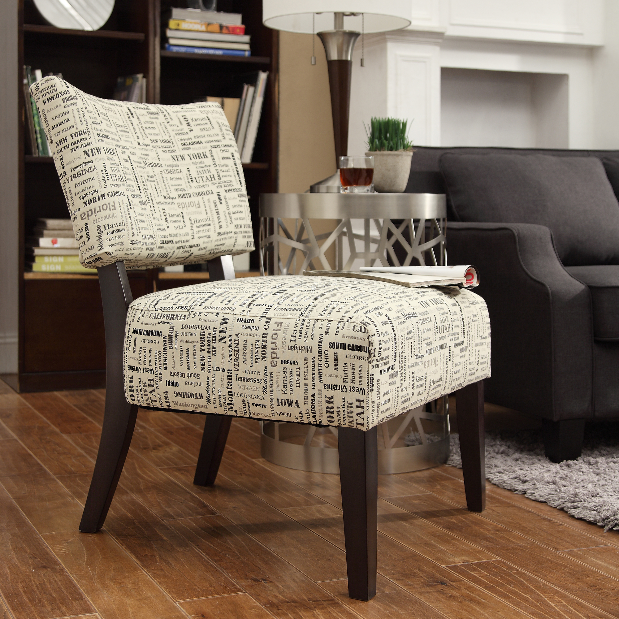 Oxford Creek Transitional Elliott Us State Text Print Armless Accent Chair Home Furniture