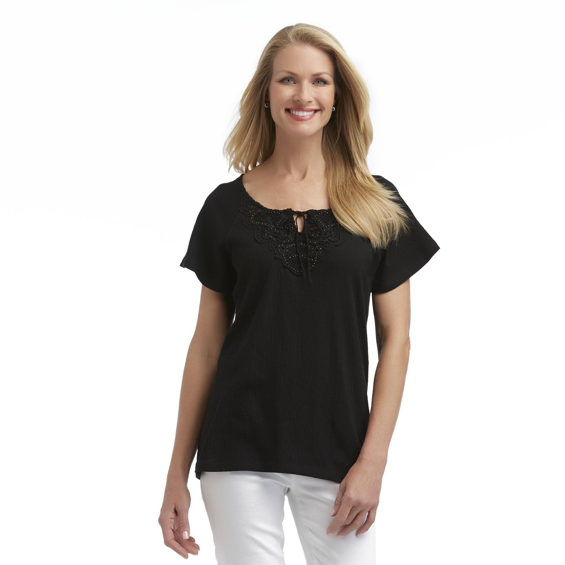 Laura Scott Women's Knit Peasant Top - Lace at Sears.com