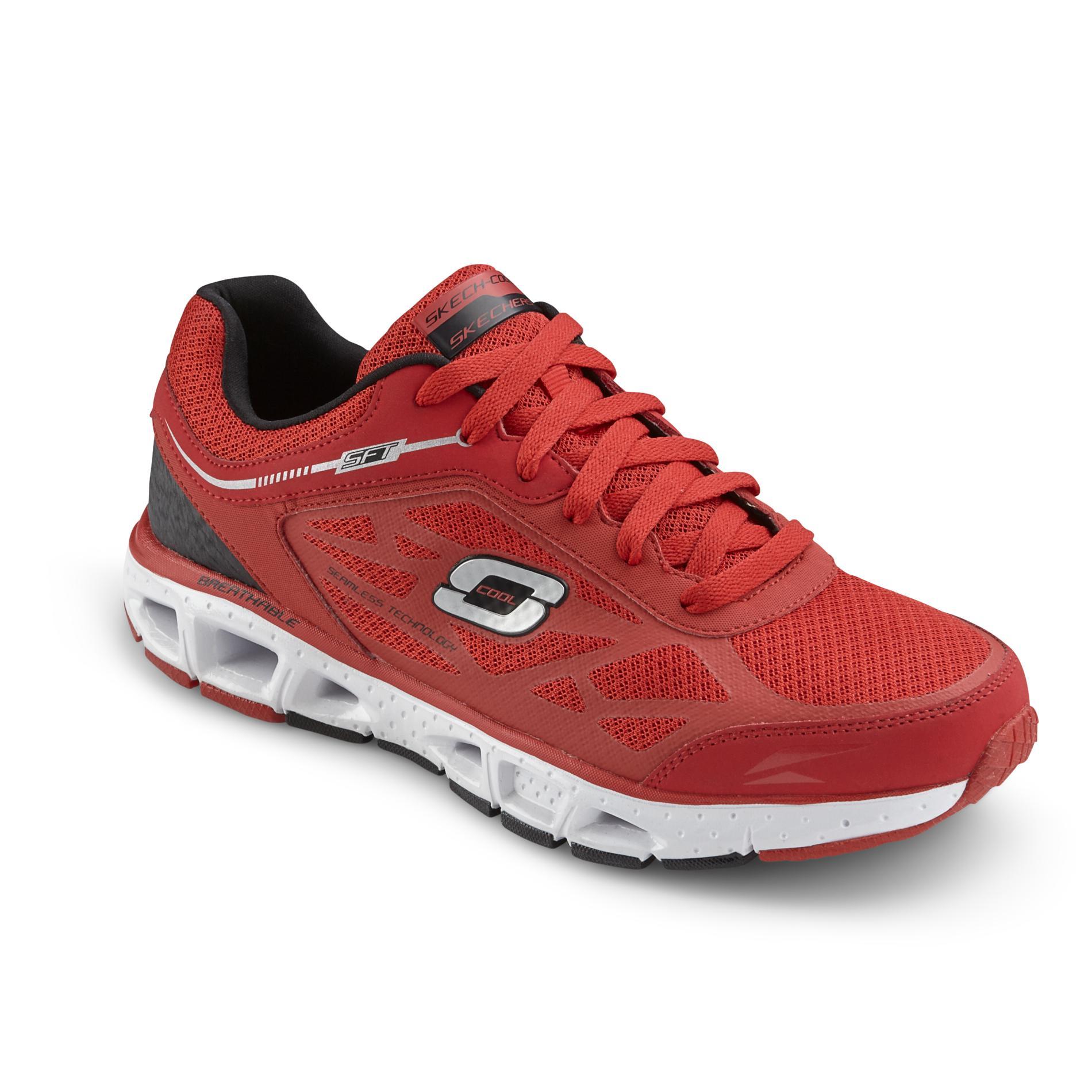 Men's Skech-Cool Red/Black Memory Foam Athletic Shoe