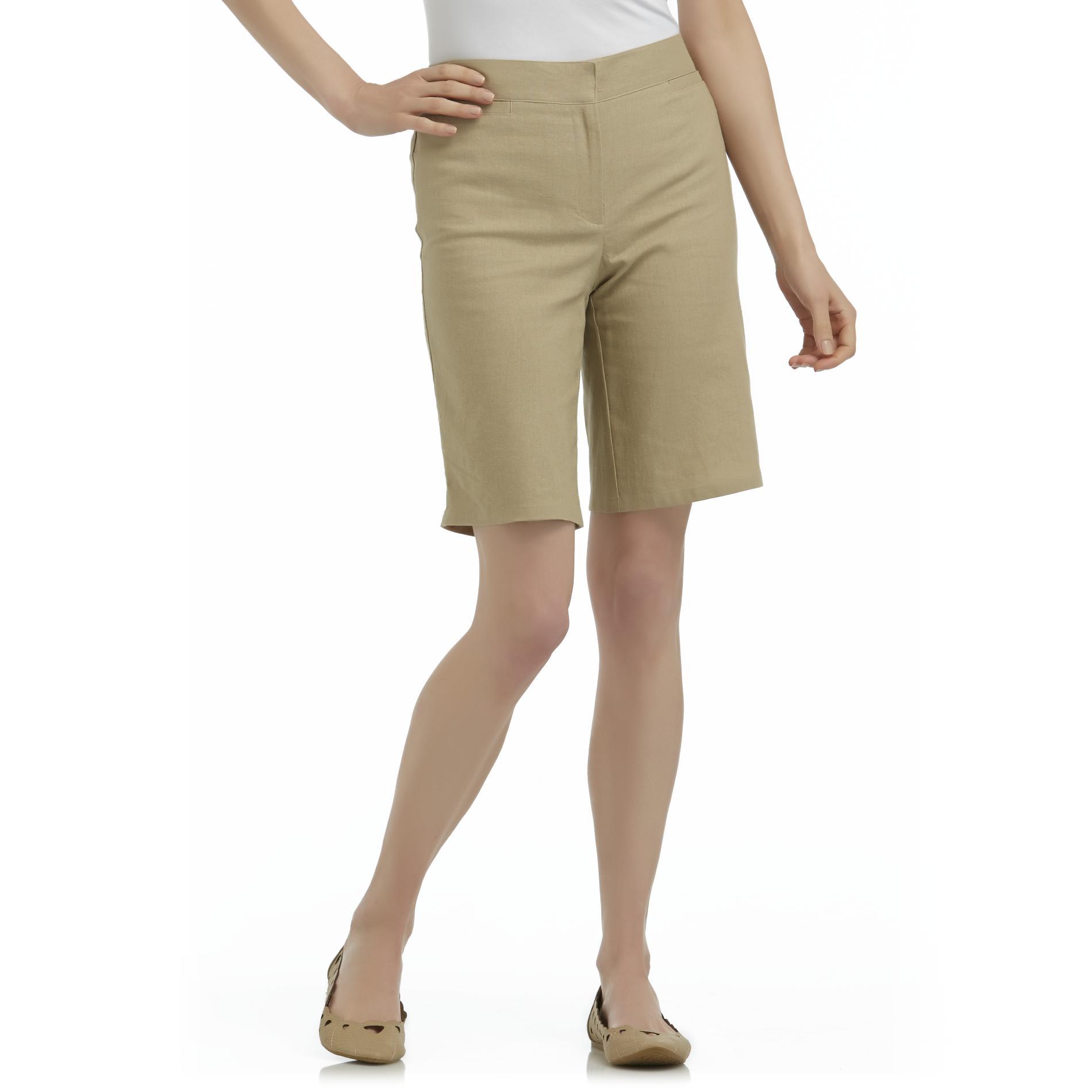 Jaclyn Smith Women's Linen Bermuda Shorts at Kmart.com