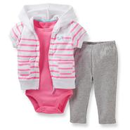 Carter's Newborn & Infant Girl's Bodysuit, Hoodie Jacket & Leggings - Striped at Sears.com