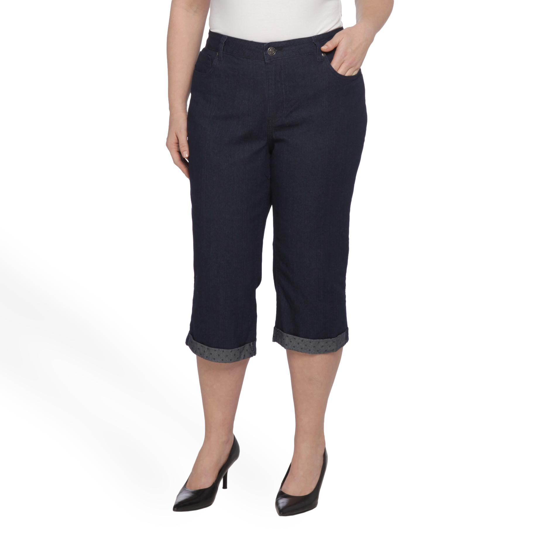 Basic Editions Women's Plus Cuffed Denim Capris at Kmart.com