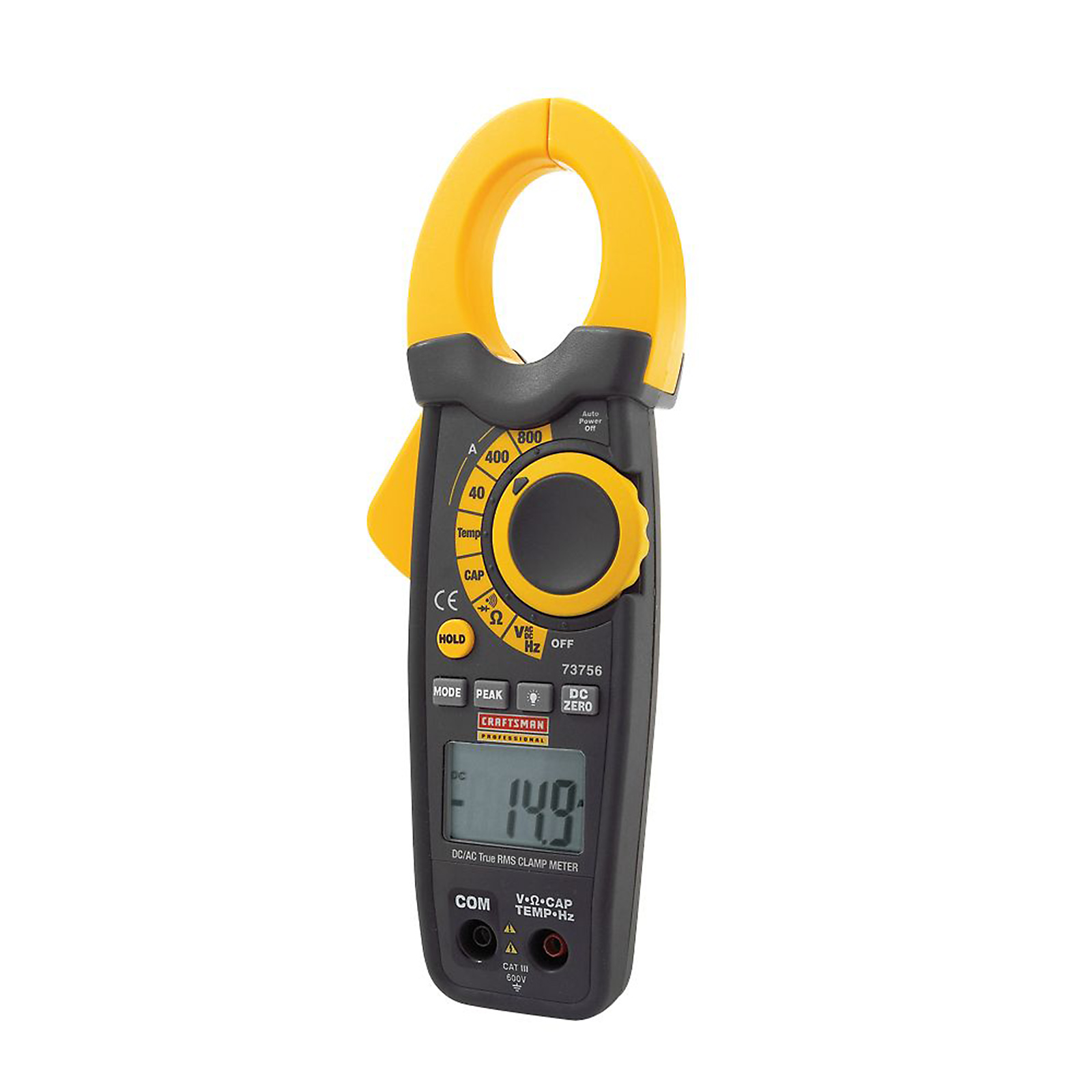 Clamp On Ammeter Dc : Craftsman true rms ac dc clamp ammeter