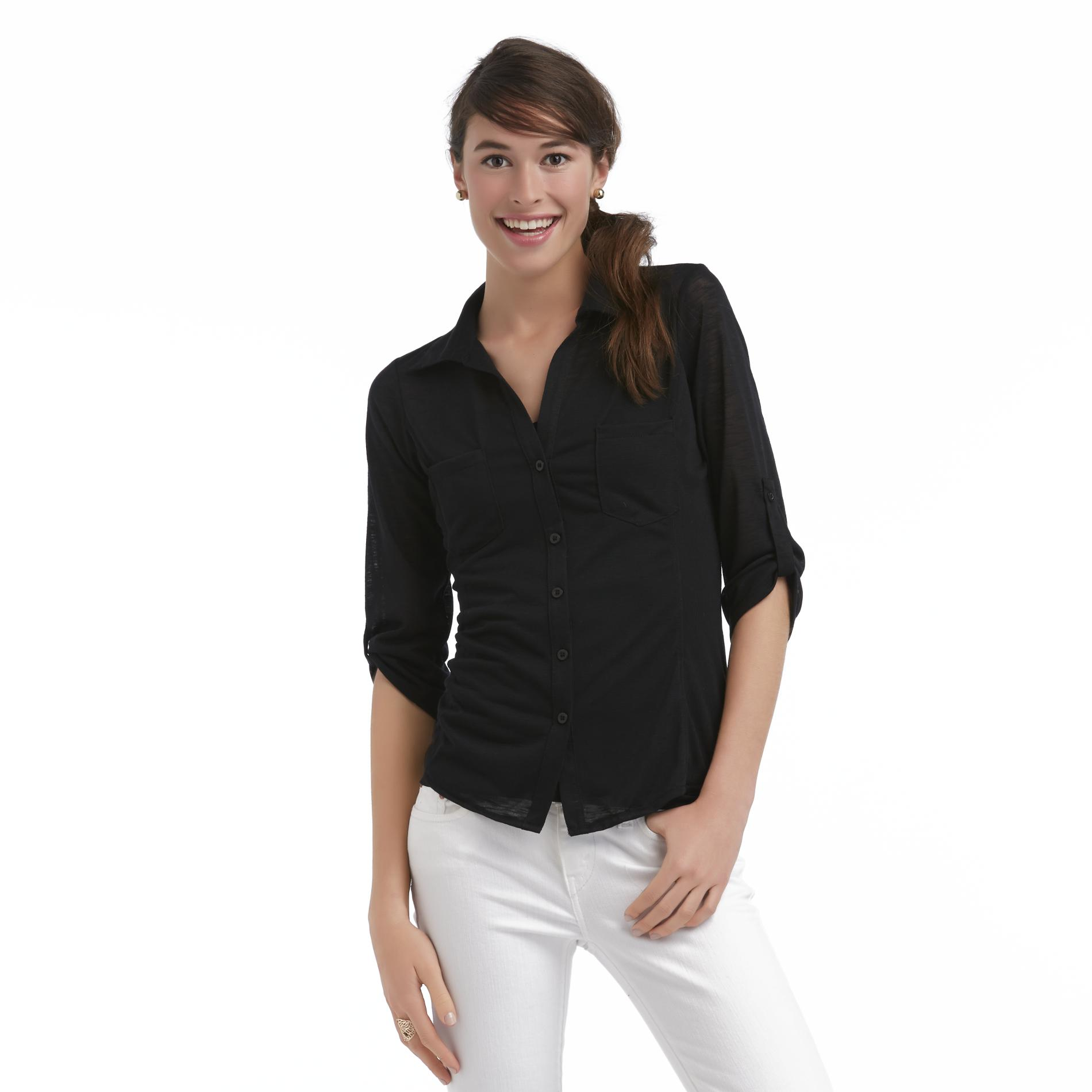 Bongo Junior's Slubbed Button-Front Blouse at Sears.com