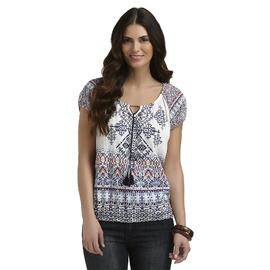 Absolutely Women's Knit Peasant Top - Aztec Print at Sears.com