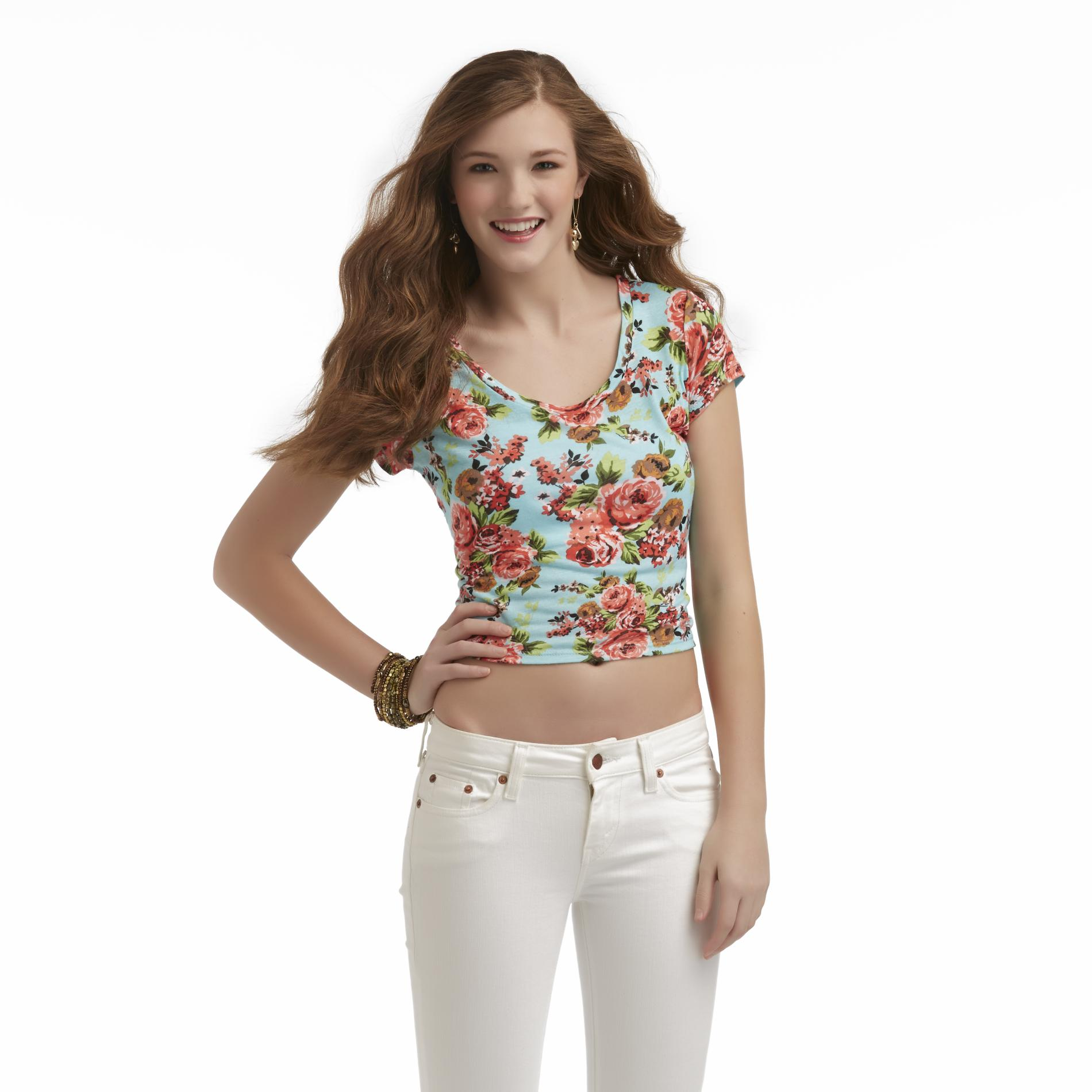 Bongo Junior's Lace-Back Crop Top - Floral at Sears.com