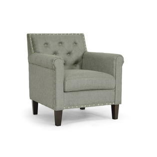 Baxton Studio Thalassa Gray Linen Modern Arm Chair