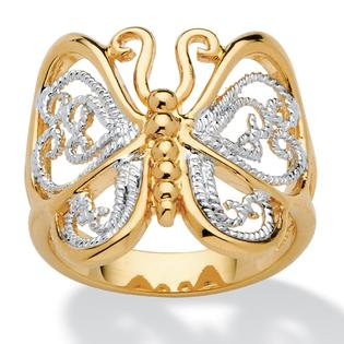 PalmBeach Jewelry Filigree Butterfly Ring in 18k Gold-Plated