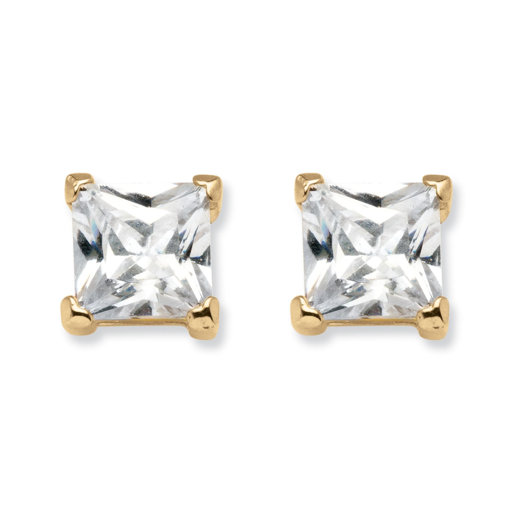 4.24 TCW Princess-Cut Cubic Zirconia 18k Gold over Sterling Silver Stud Earrings