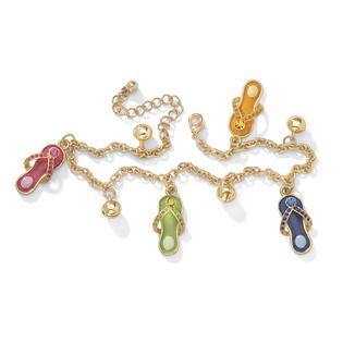 PalmBeach Jewelry Austrian Crystal Enamel Flip-Flop Ankle Bracelet in Yellow Gold Tone