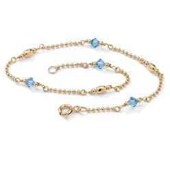 PalmBeach Jewelry Simulated Birthstone 14k Gold over Silver Ankle Bracelet - March - Simulated Aquamarine at Kmart.com
