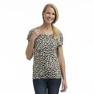 Women's Jersey Knit Peasant Top - Leopard Print
