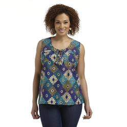 Jaclyn Smith Women's Plus Lace-Up Tank Top - Tribal at Kmart.com