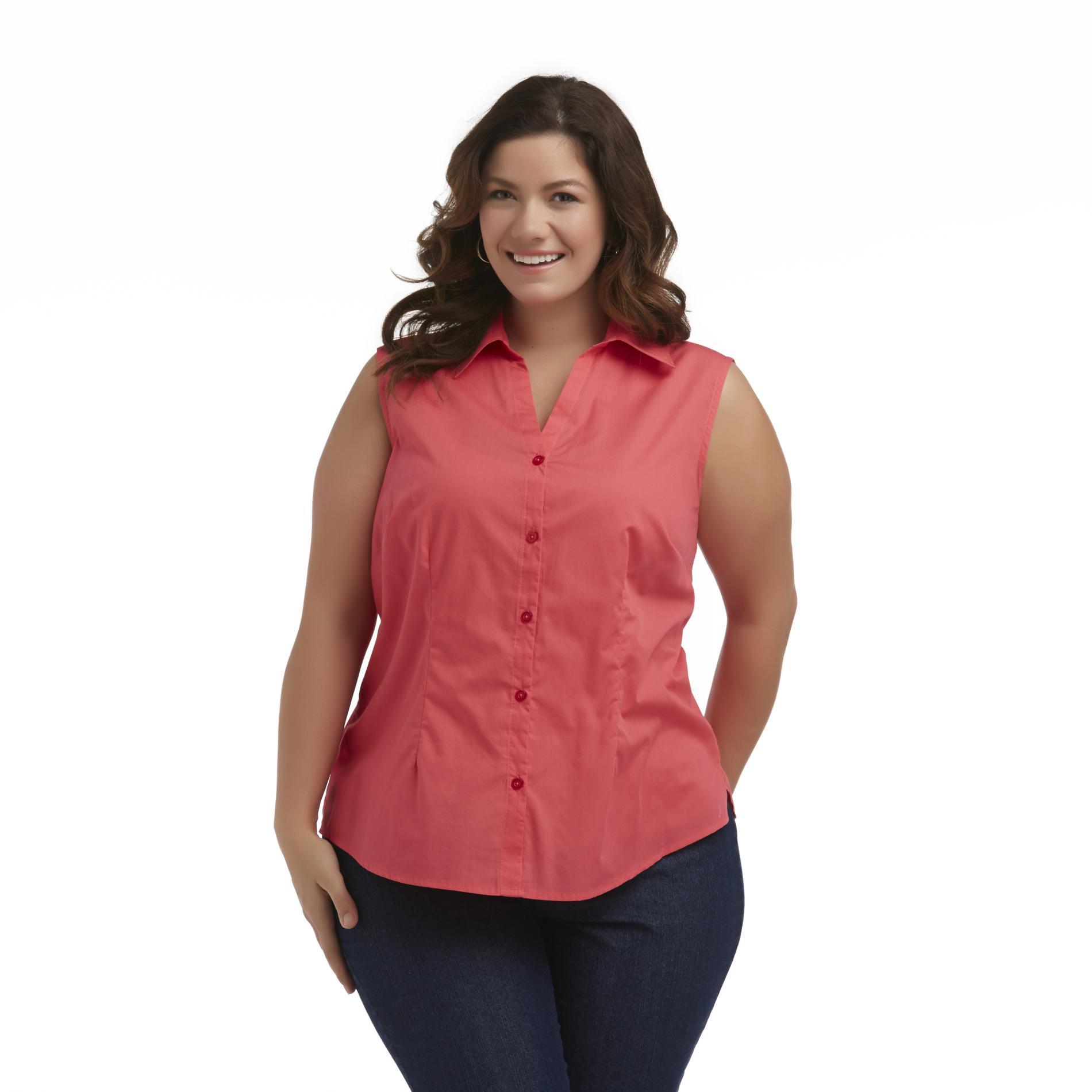 Basic Editions Women's Plus Sleeveless Camp Shirt at Kmart.com