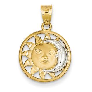 goldia 14k Yellow Gold & Rhodium Sun & Moon Charm