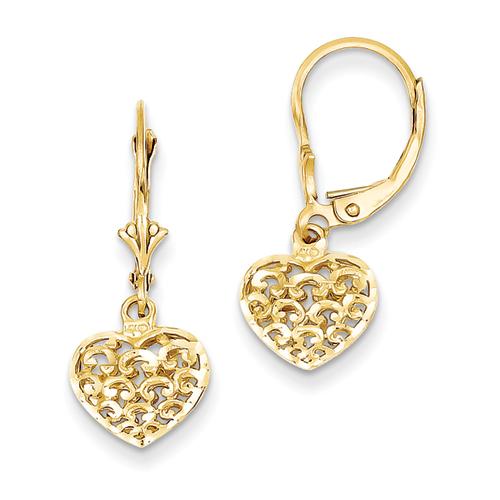 14k Yellow Gold 3-D Diamond-cut Mini Puffed Heart Leverback Earring