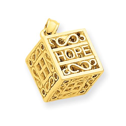 14k Yellow Gold Faith & Hope Prayer Box Charm