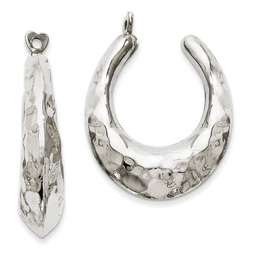goldia 14k White Gold Hammered Hoop Earrings Jackets