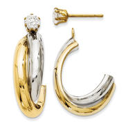 goldia 14k Yellow Gold & Rhodium J-Hoop with CZ Stud Earrings Jackets at Kmart.com