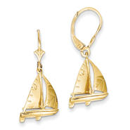 goldia 14k Yellow Gold 3-D Sailboat Leverback Earrings at Kmart.com
