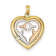 goldia 14k Yellow & Rose Gold w/Rhodium Diamond-cut Dolphins in Heart Pendant at Kmart.com