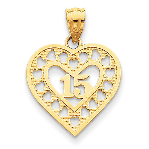 14k Yellow Gold 15 in Cut-out Heart Frame Pendant
