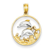 goldia 14K Yellow Gold & Rhodium Double Dolphins in Circle Pendant at Kmart.com