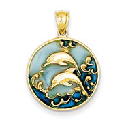 goldia 14K Yellow Gold Blue Translucent Acrylic Dolphins Pendant at Kmart.com