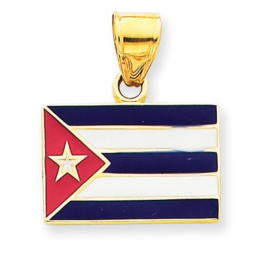 goldia 14k Yellow Gold Enameled Cuba Flag Pendant