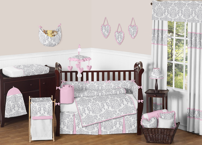 Sweet Jojo Designs Pink and Gray Elizabeth Collection 9pc Crib Bedding Set
