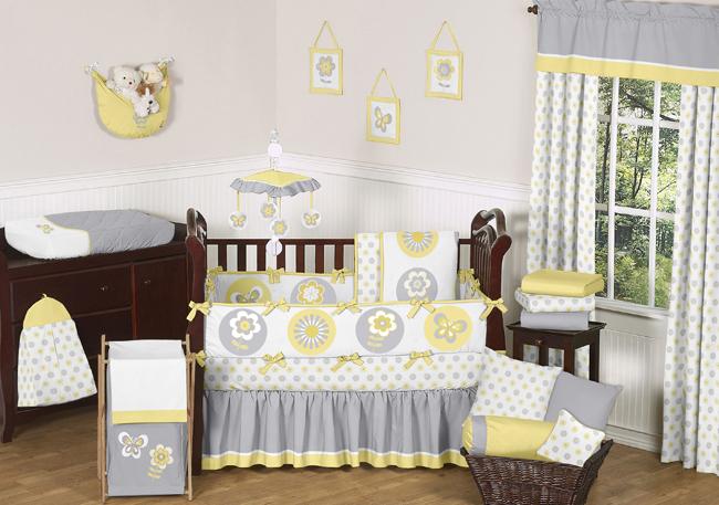 Sweet Jojo Designs Mod Garden Collection 9pc Crib Bedding Set