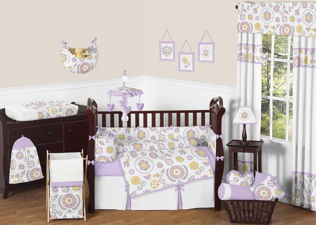 Sweet Jojo Designs Lavender and White Suzanna Collection 9pc Crib Bedding Set