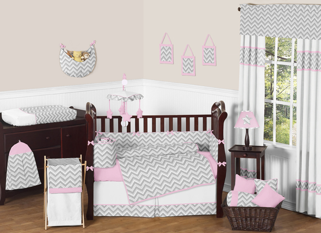 Sweet Jojo Designs Gray and Pink Zig Zag Collection 9pc Crib Bedding Set