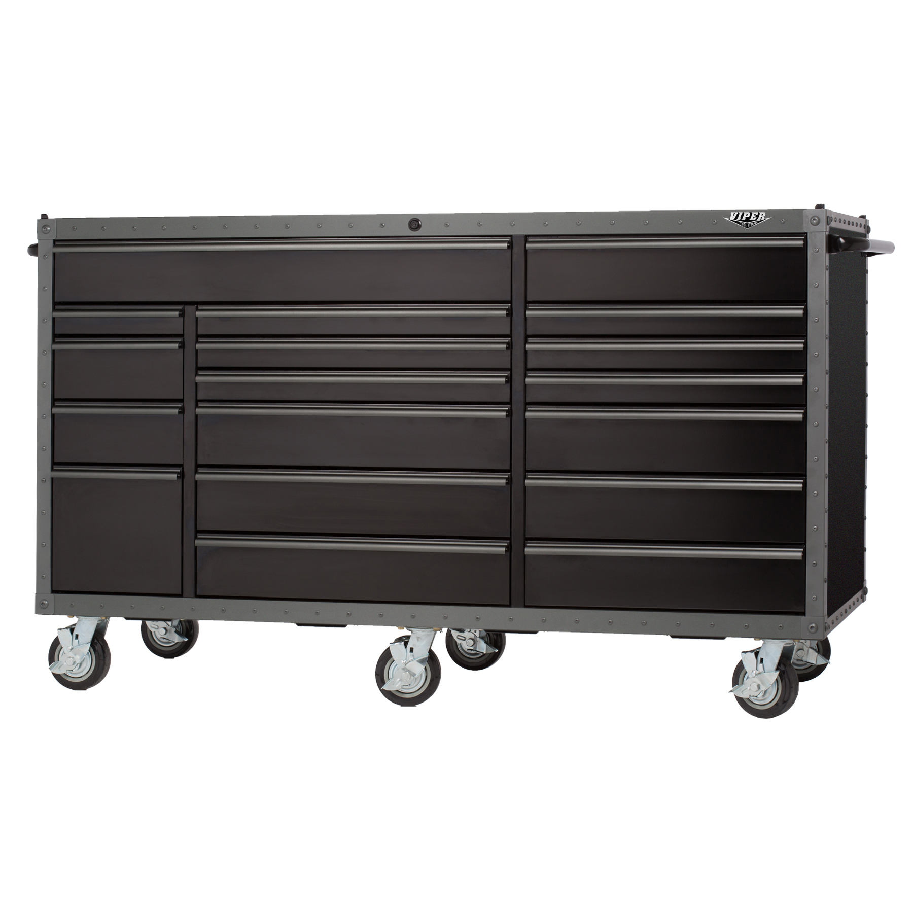 Viper Tool Storage 72-inch ARMOR Series 18 Drawer Series 18G Steel Rolling Cabinet, Black