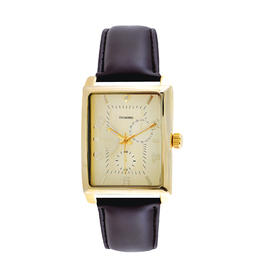 NO BRAND Men's Gold Plated Rectangle with Genuine Diamond at the 12th Hour Brown Strap Watch at Kmart.com